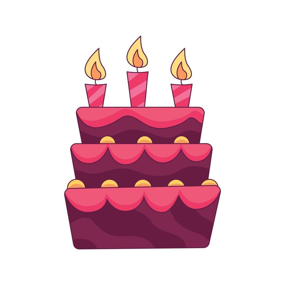 födelsedagstårta tecknad klotter handritad koncept vektor kawaii illustration