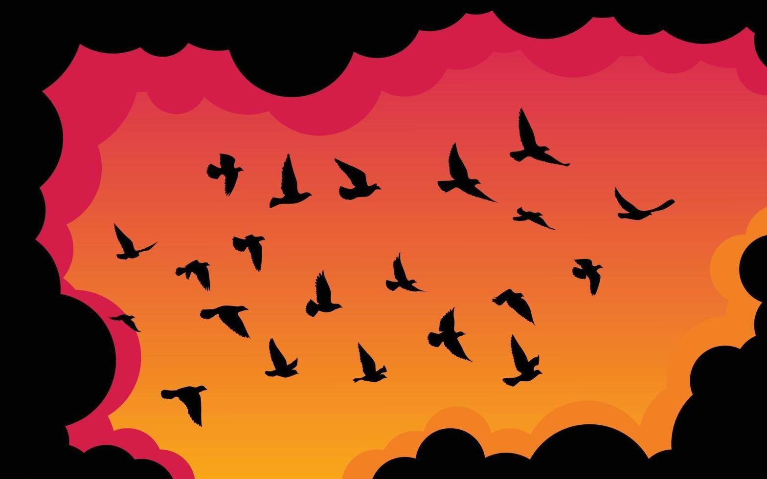 fliegende Vögel Silhouetten Muster Tapete. Vektorillustration. isoliertes Vogelfliegen. Tattoo Design. Vorlage für Karte, Paket und Hintergrundbild. vektor