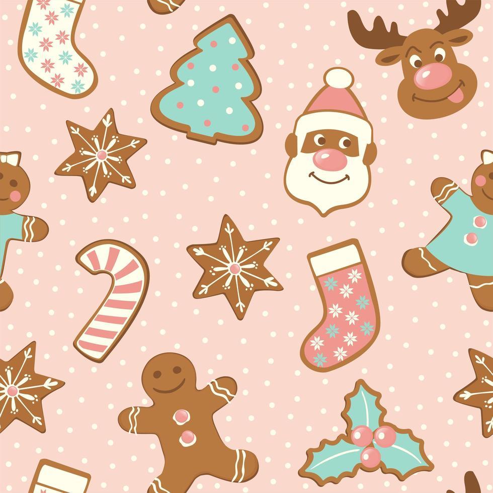 uppsättning söta pepparkakor till jul. isolerad på vit bakgrund. vektor sömlösa mönster.