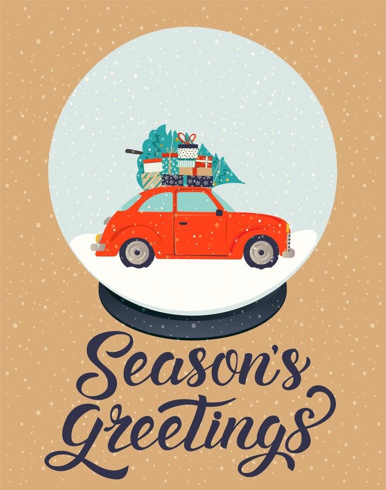 vektor illustration vintage stil för jul. vykortet med retrobil, träd, presenter, snöflingor i glassnöboll och bokstäver god jul