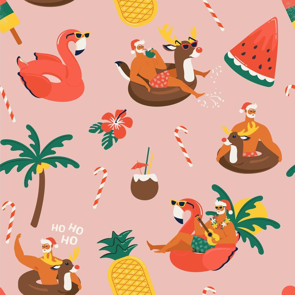 jul sömlösa mönster med söta roliga jultomten djur med renar och flamingo uppblåsbar ring. tropisk jul. vektor illustration.