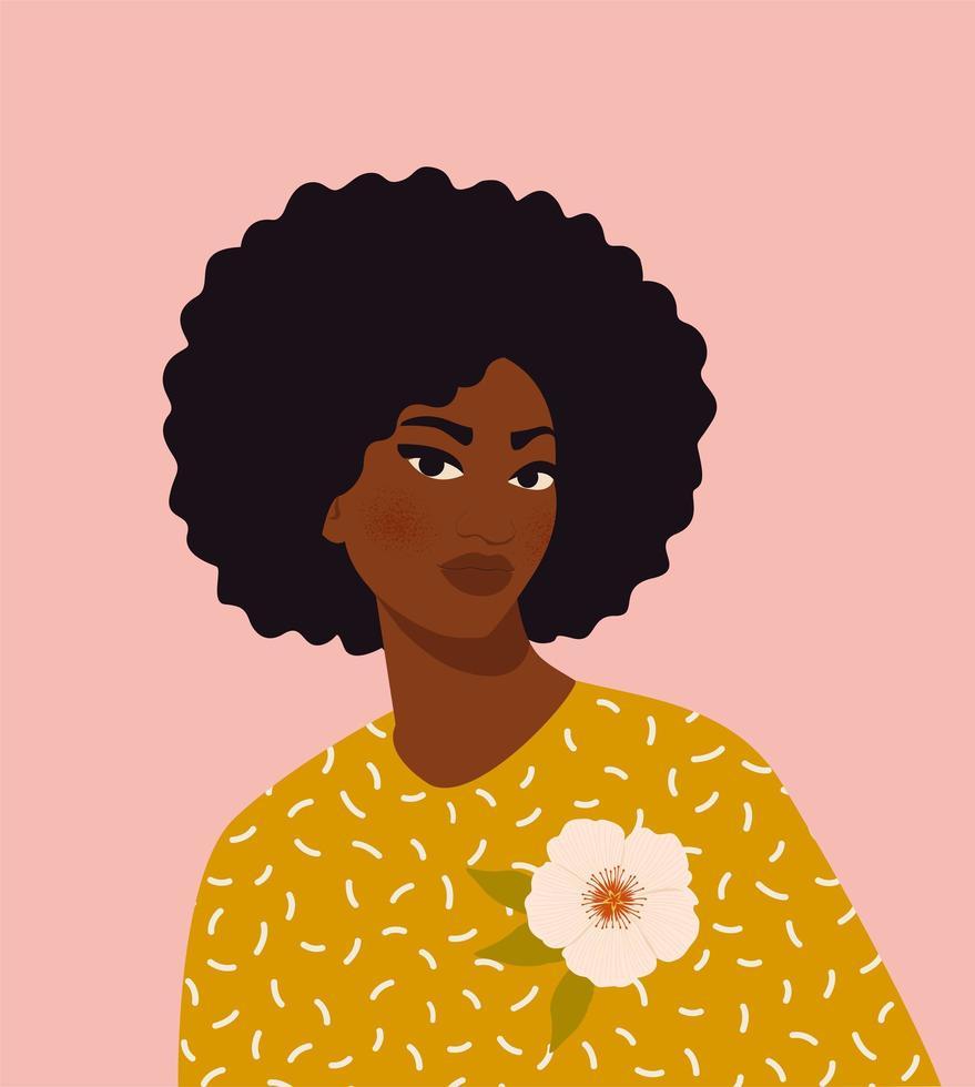 vacker svart kvinna. ung afrikansk amerikan. porträtt av ung kvinna med vackert ansikte och hår. sidovy. isolerad på en beige bakgrund vektor