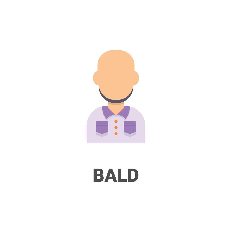 avatar skallig vektor ikon från avatar samling. platt stilillustration, perfekt för din webbplats, applikation, utskriftsprojekt etc.