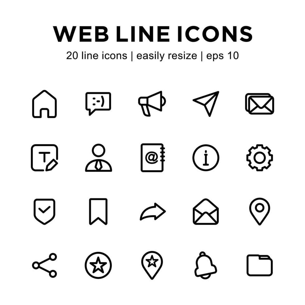 webb linje ikonuppsättning vektor