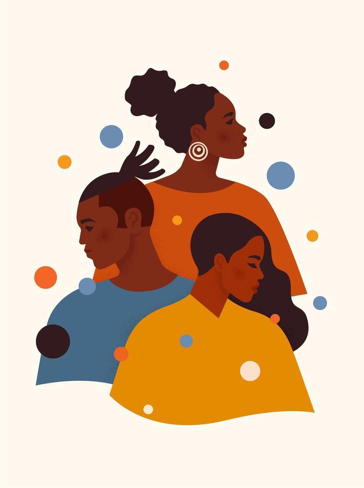 Schwarze Leben zählen. Afroamerikaner Mann und Frauen in bunten Kleidern stehen eins nach dem anderen. Toleranz und kein Rassismuskonzept. Kunstwerk über das Menschenrecht der Schwarzen. Cartoon-Vektor-Illustration. vektor