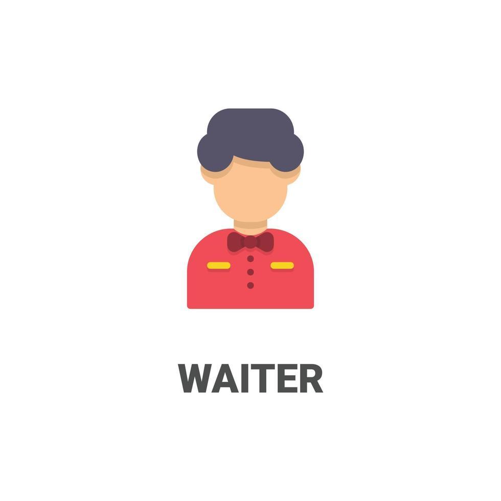avatar servitör vektor ikon från avatar samling. platt stilillustration, perfekt för din webbplats, applikation, utskriftsprojekt etc.