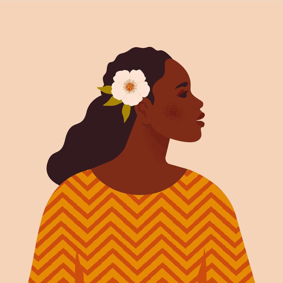 vacker svart kvinna. ung afrikansk amerikan. porträtt av ung kvinna med vackert ansikte och hår. sidovy. isolerad på en beige bakgrund. vektor