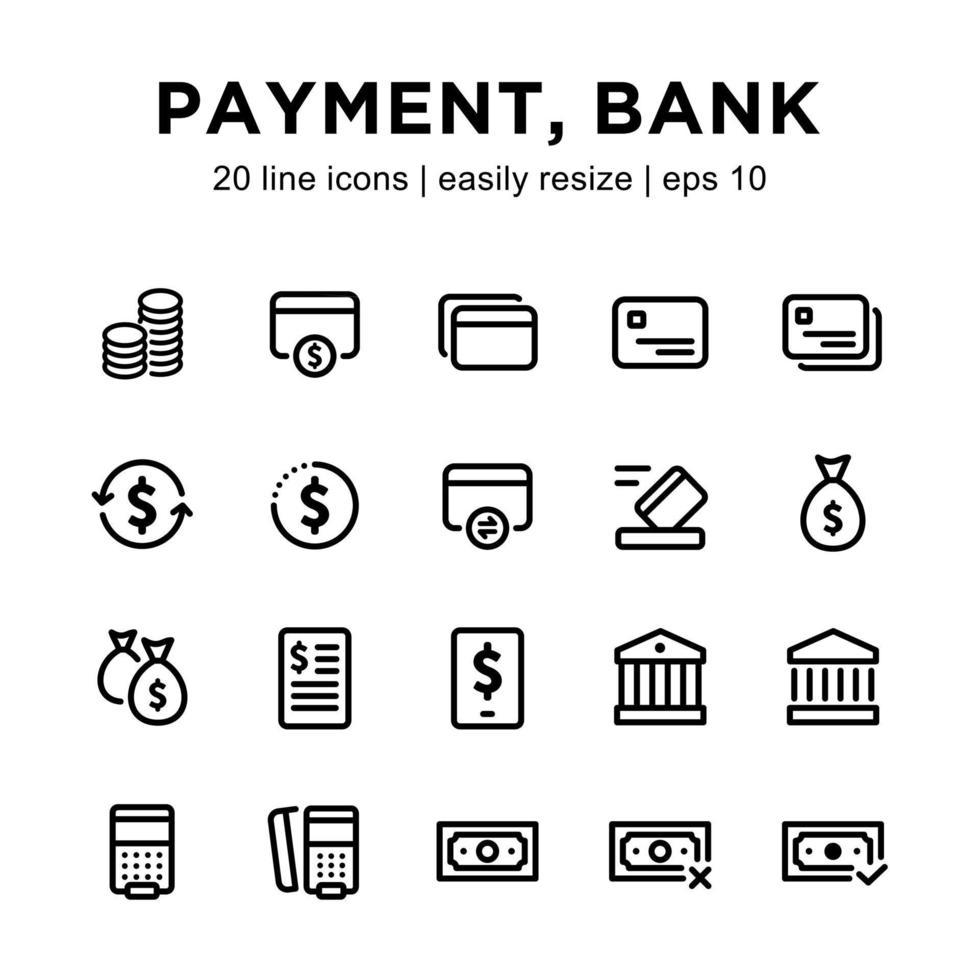 betalning eller bank ikonuppsättning vektor