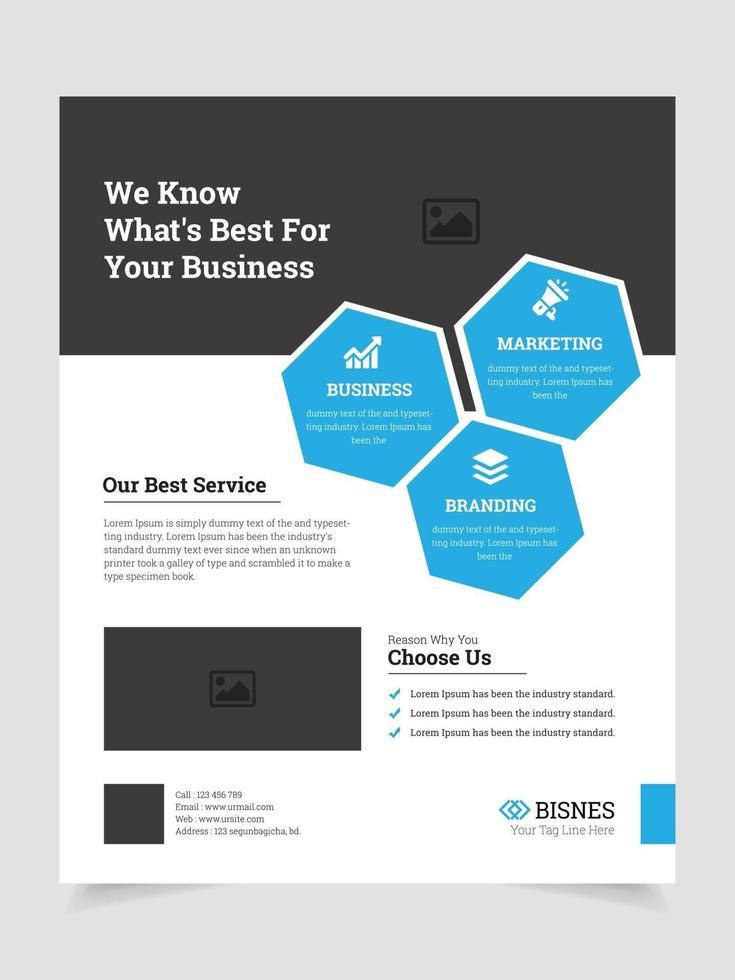 Corporate eine Seite bunte Flyer Design vektor