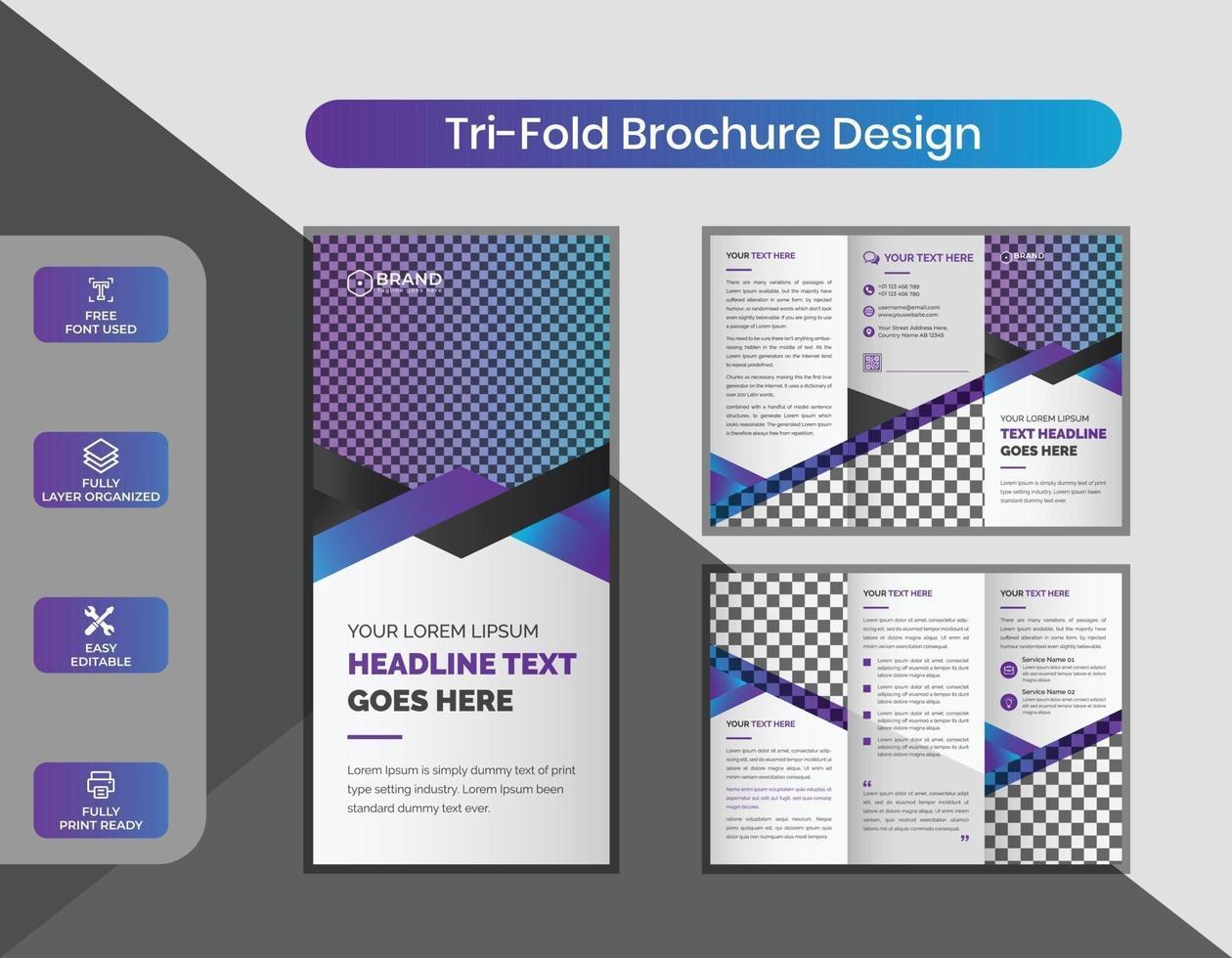 kreativa moderna företags trippel broschyr formgivningsmall vektor