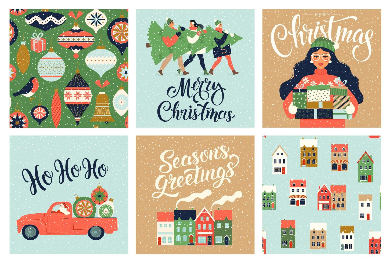 jul och nyår mall för hälsning scrapbooking, gratulationer, inbjudningar, taggar, klistermärken, vykort. jul affischer set. vektor illustration.