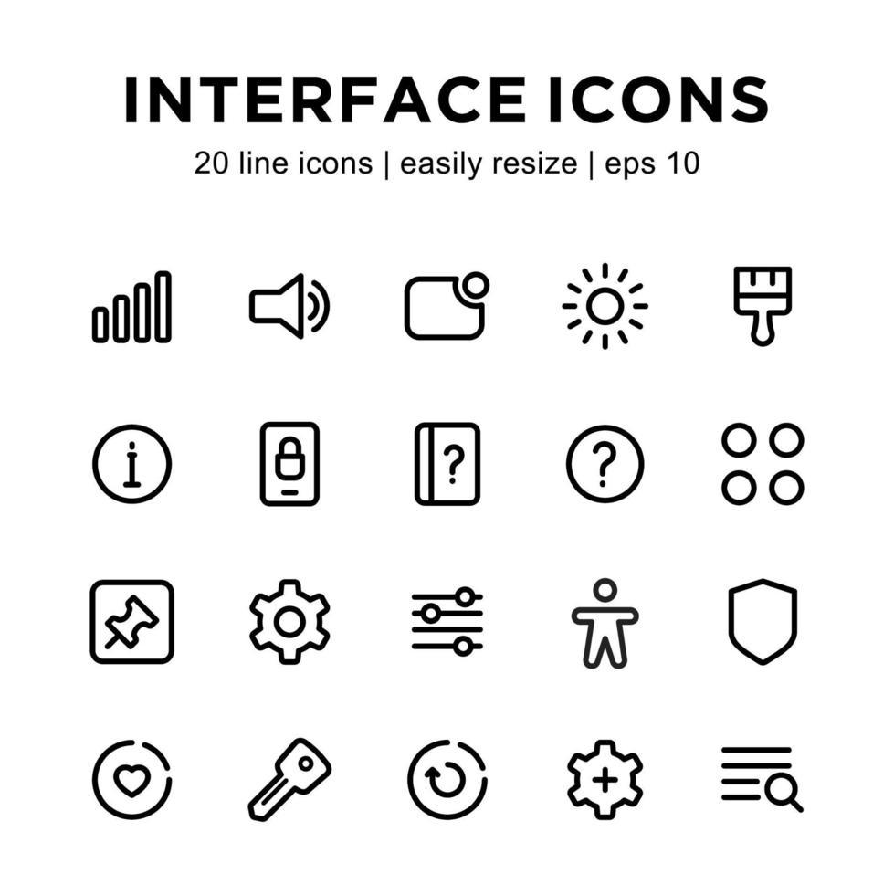 gränssnittslinje ikonuppsättning vektor
