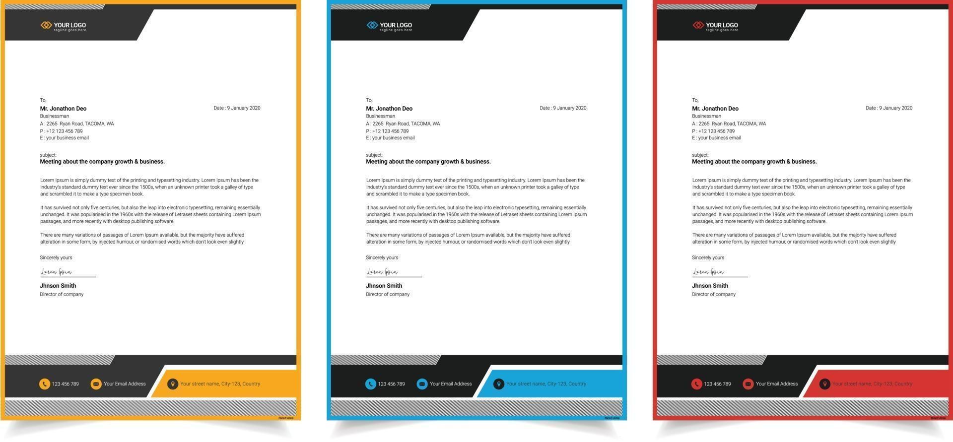 företags modern en sida brevpapper mall vektor