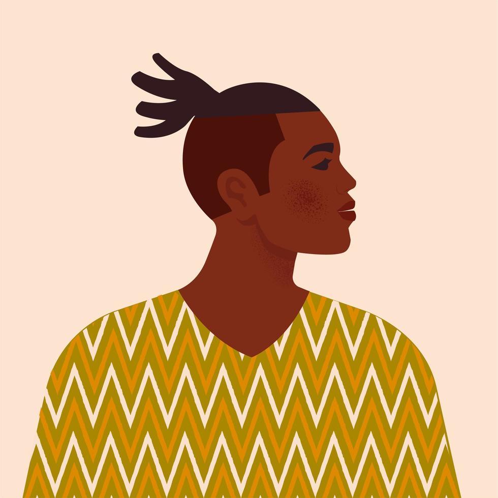 stilig svart man. ung afrikansk amerikan. porträtt av ung kille med hår. sidovy. isolerad på en beige bakgrund. vektor