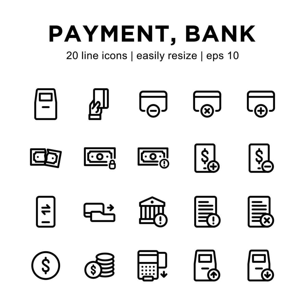 bank eller betalningslinje ikonuppsättning vektor