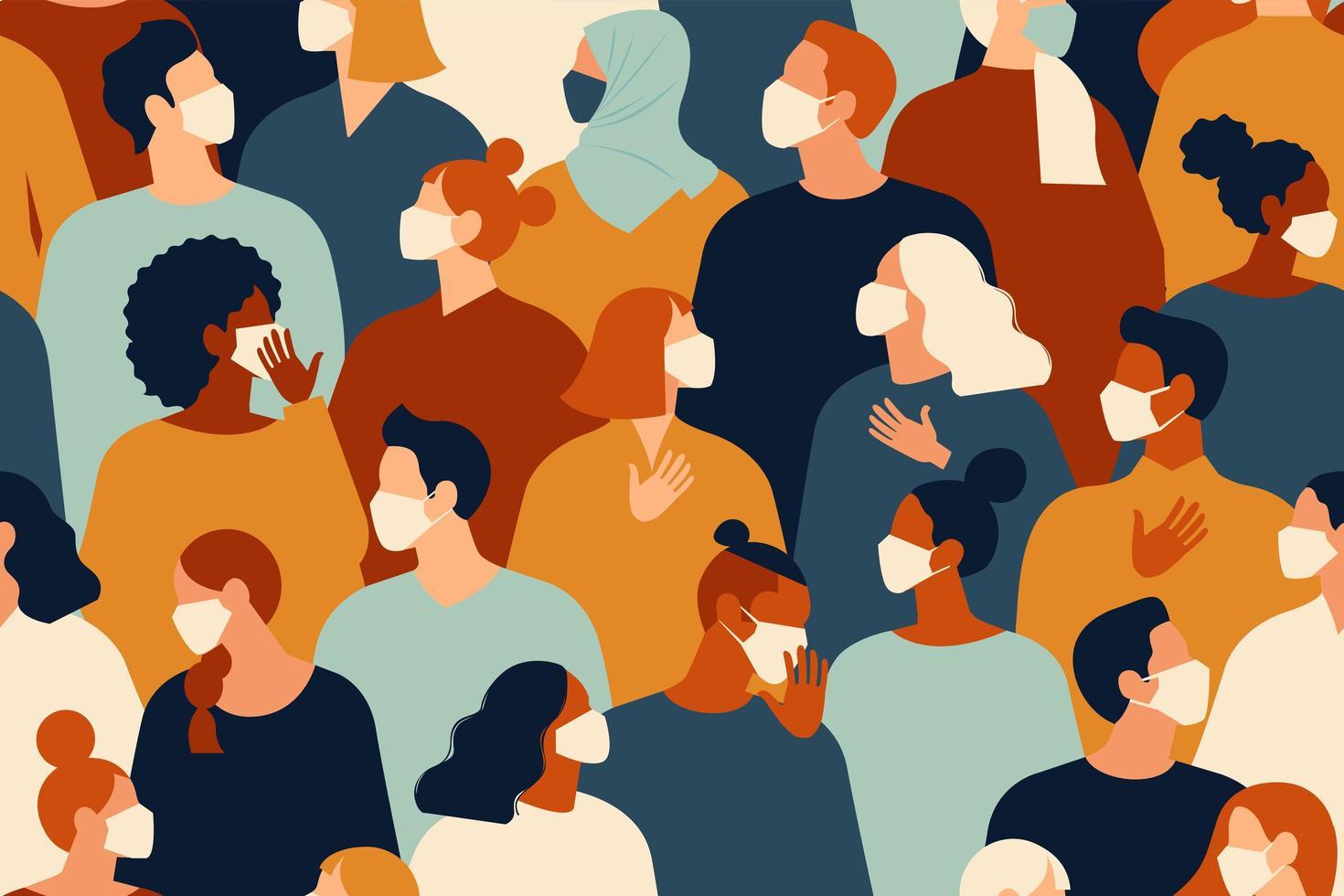 coronavirus pandemi. roman coronavirus 2019-ncov, människor i vit medicinsk ansiktsmask. begreppet koronavirus karantän vektorillustration. sömlösa mönster. vektor