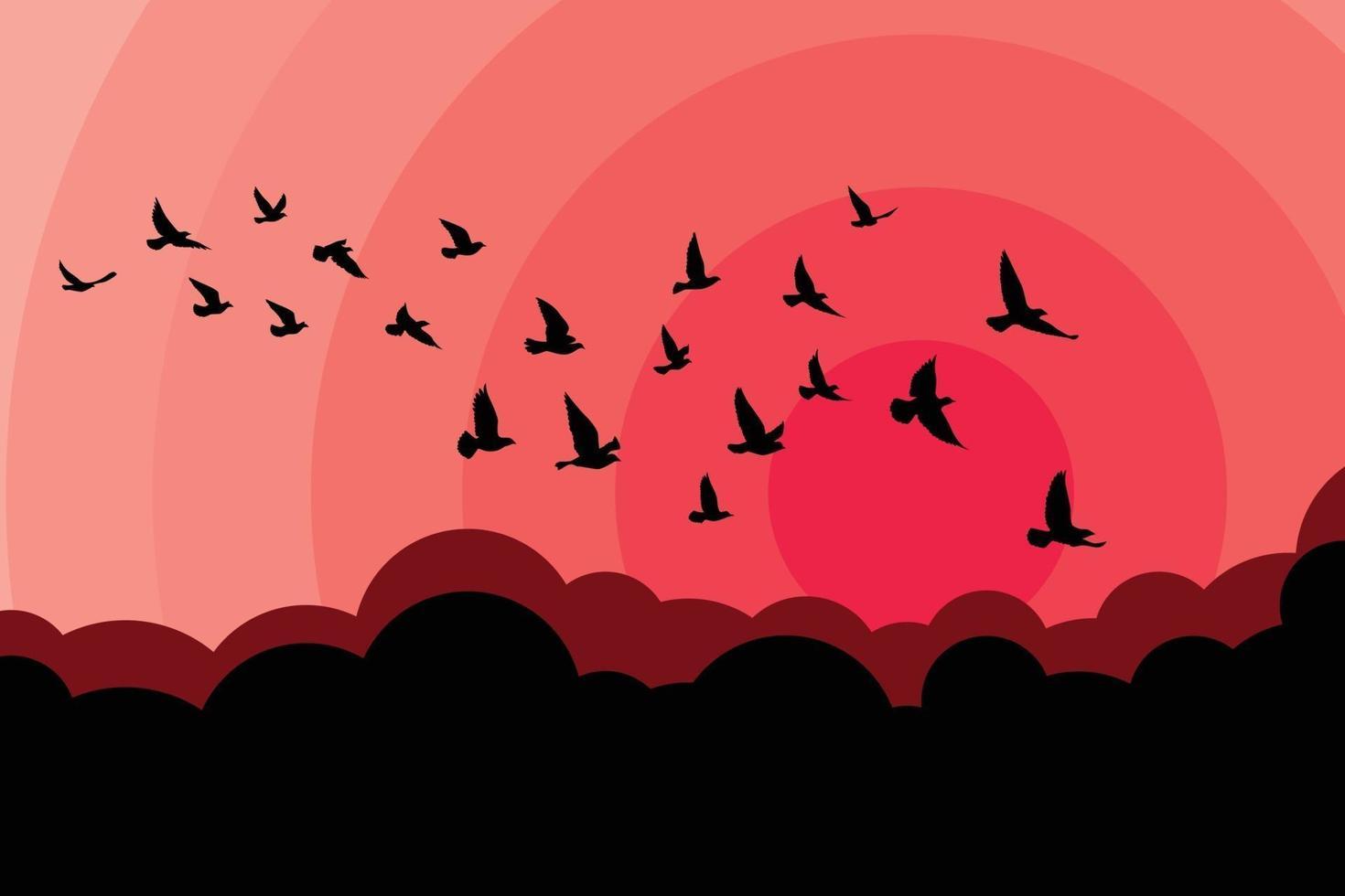 flygande fåglar silhuetter på vit bakgrund. vektor illustration. isolerad fågel som flyger. tatuering och tapet bakgrundsdesign. himmel och moln med flugfågel.