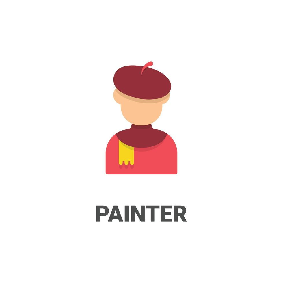 avatar målare vektor ikon från avatar samling. platt stilillustration, perfekt för din webbplats, applikation, utskriftsprojekt etc.