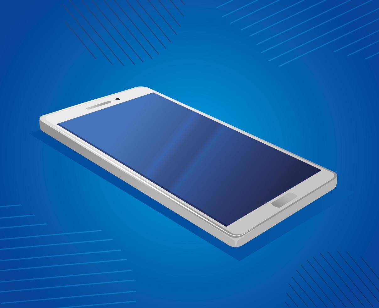 realistisk smartphone mockup på blå bakgrund vektor