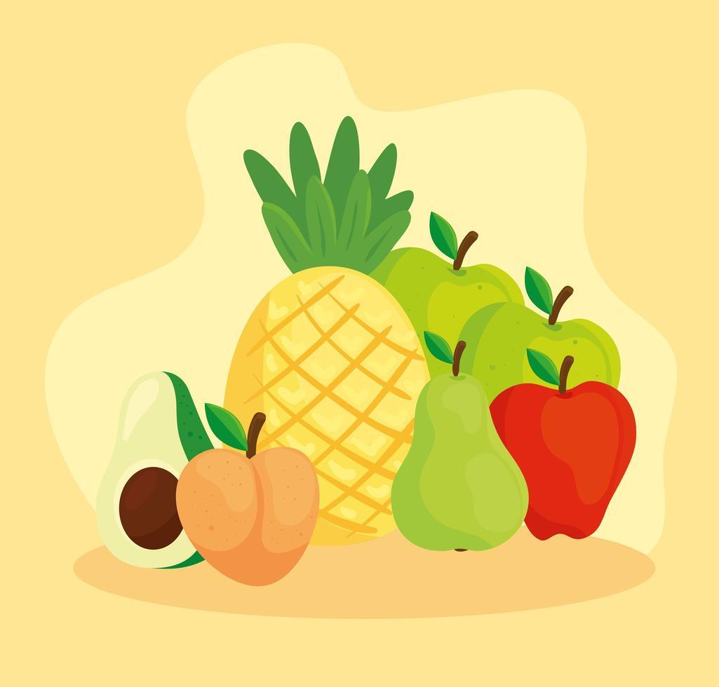 süße tropische frische Früchte vektor