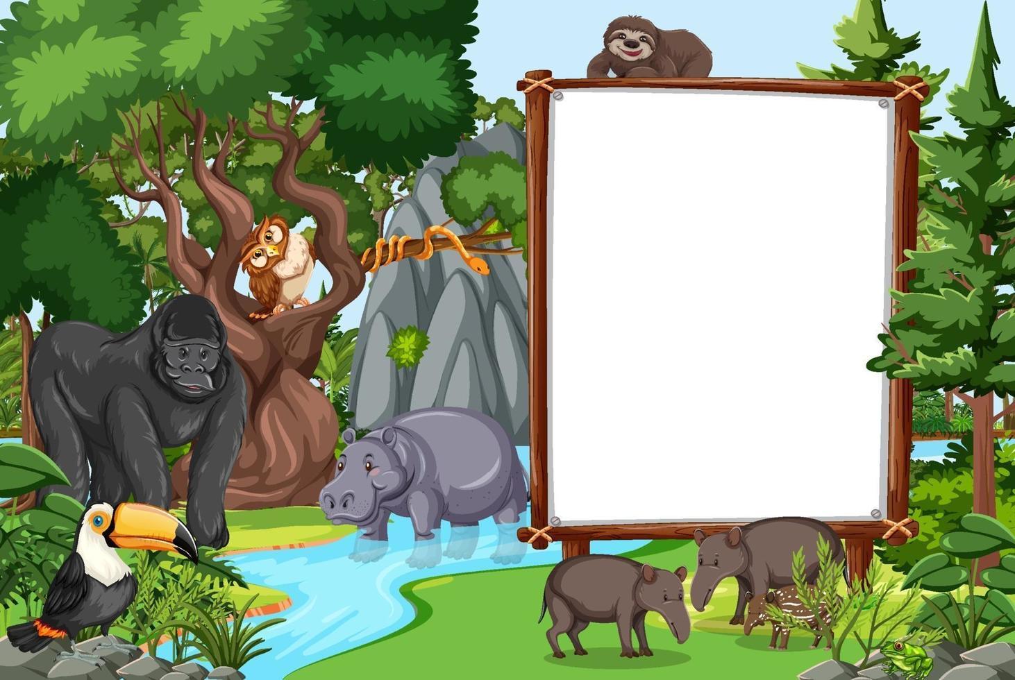 tomt banner i regnskogscenen med vilda djur vektor