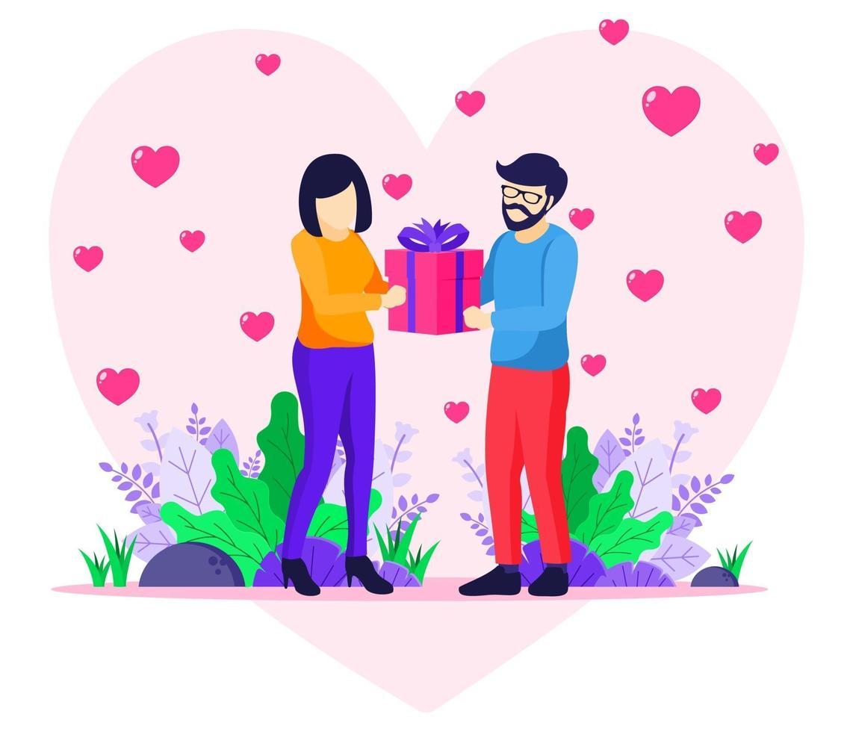 liebender Mann, der der Frau ein Geschenk gibt vektor