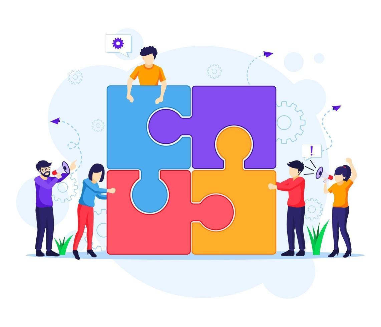 teamwork koncept, människor som förbinder pusselelement. vektor