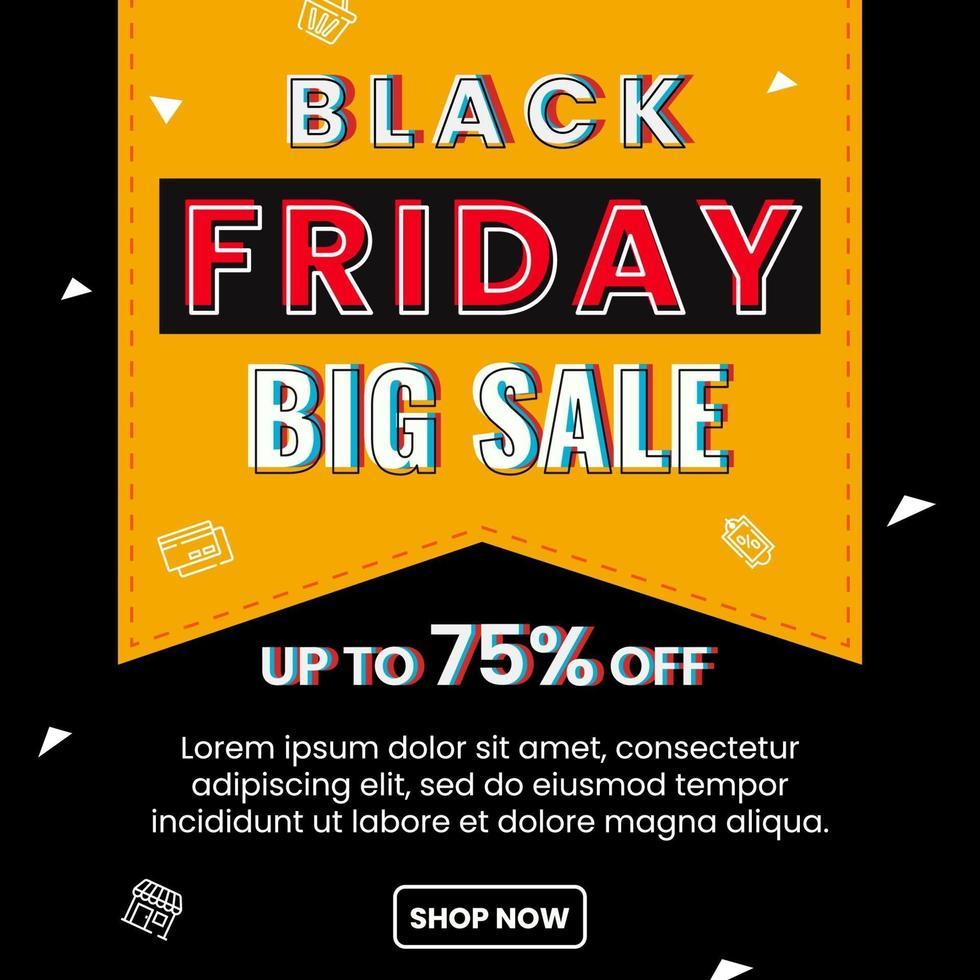 svart fredag stor försäljning affisch mall vektor