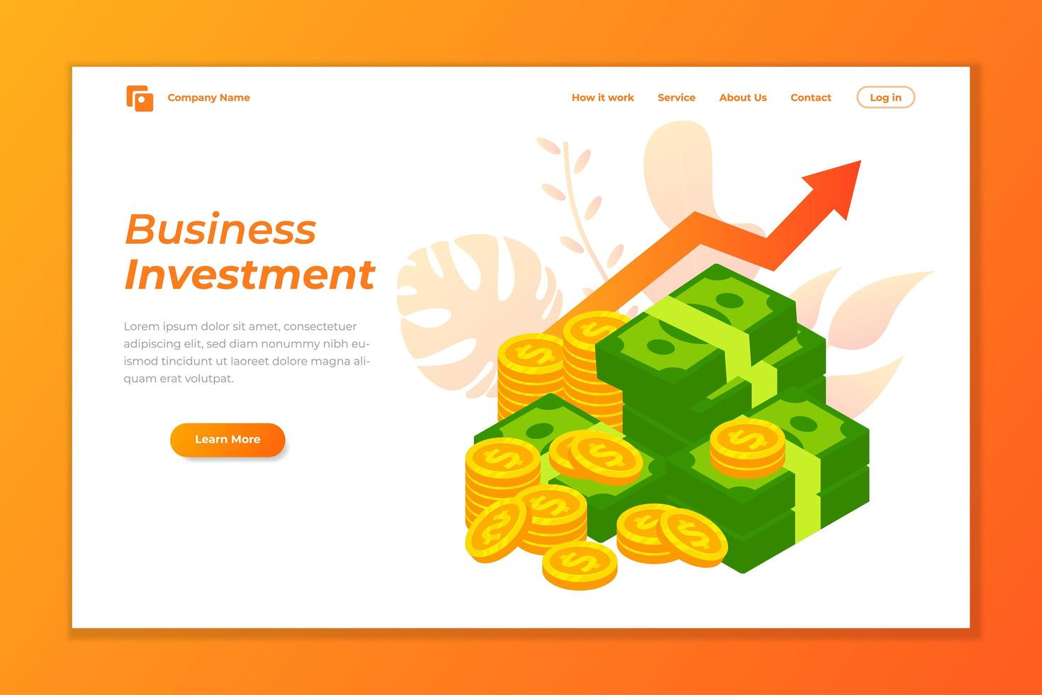 Business Landing Page Vektor Design. Unternehmen wachsen Investition Zielseite Vektor-Design