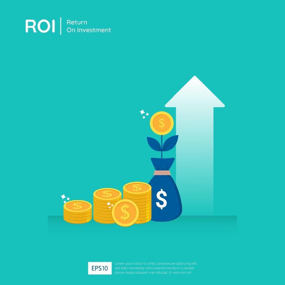 Return on Investment Design Vektor-Illustration. Gewinnchancenkonzept. Geschäftswachstumspfeile zum Erfolg. Pfeil mit Dollar Pflanzenmünzen, Grafik und Chart erhöhen. vektor