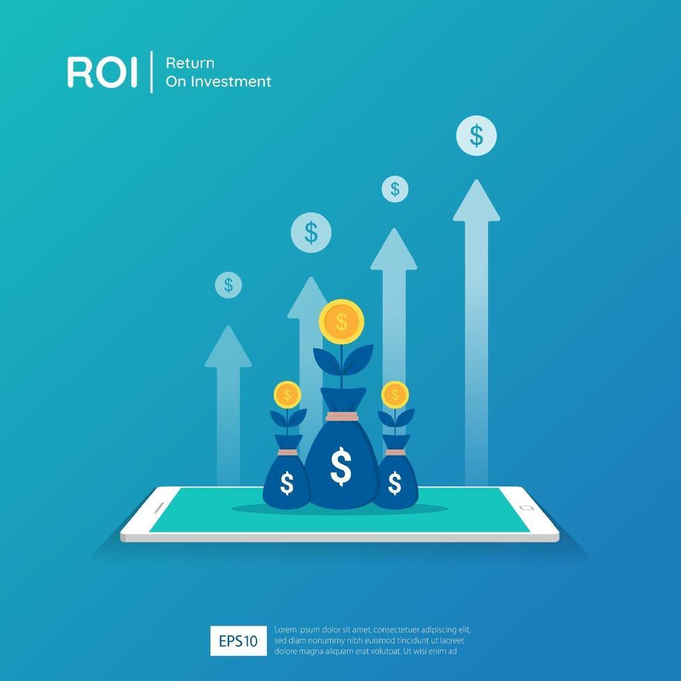 Return on Investment Design auf Tablet-Bildschirm Vektor-Illustration. Gewinnchancenkonzept. Geschäftswachstumspfeile zum Erfolg. Pfeil mit Dollar Pflanzenmünzen, Grafik und Chart erhöhen. vektor
