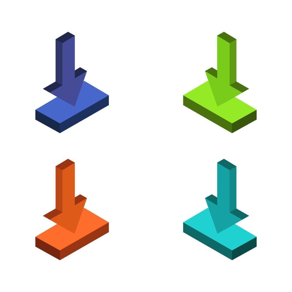 Download-Set auf weißem Hintergrund vektor
