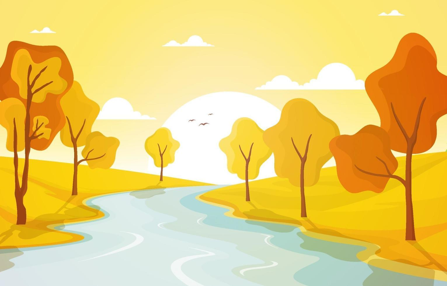 gyllene höstplats med träd, flod och sol vektor