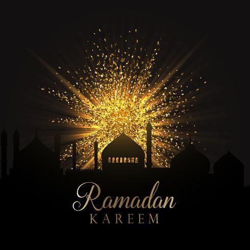 Ramadan-Hintergrund mit Goldfunkeln vektor