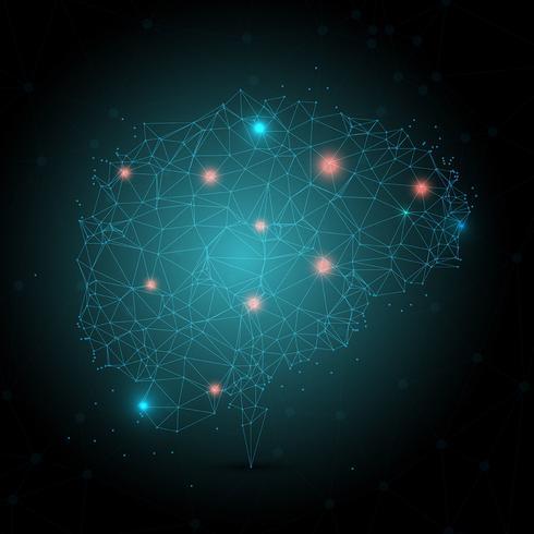Låg polyhjärna med glödande prickar vektor
