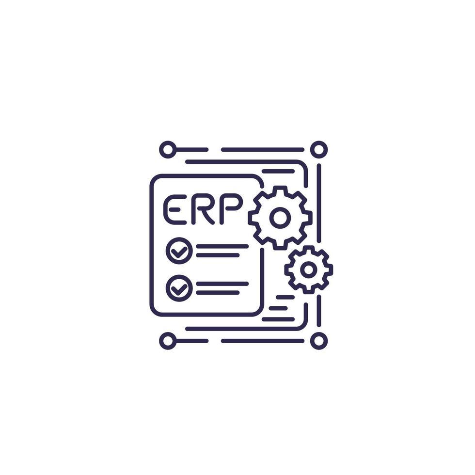 erp, Symbol für die Planung von Unternehmensressourcen, line design.eps vektor