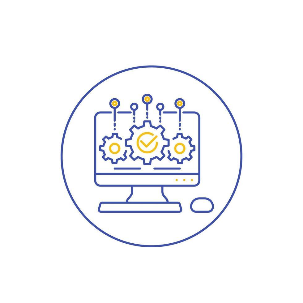 Softwareentwicklungs- und Integrationssymbol, line vector.eps vektor