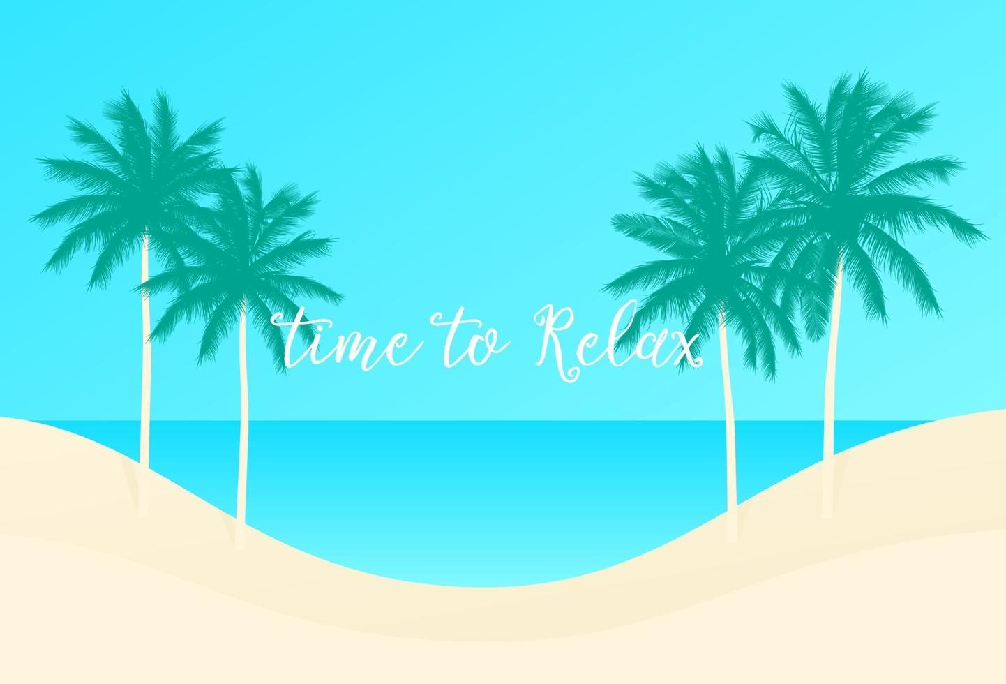 tid att koppla av, palmer och stranden, vektorscene.eps vektor