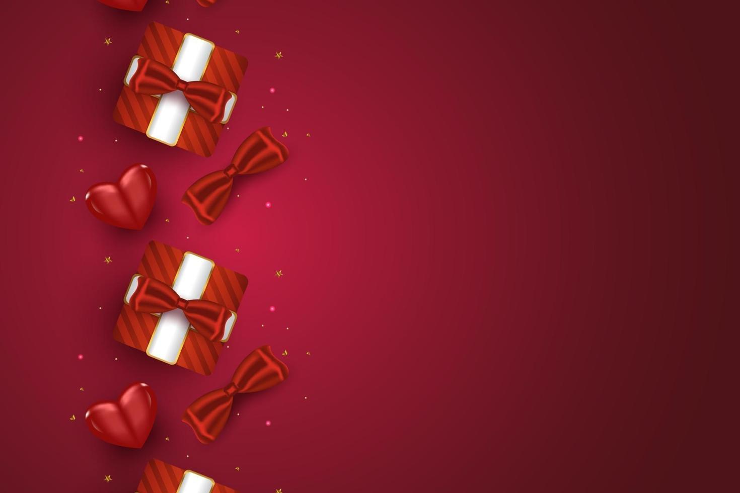 Alla hjärtans dag bakgrund för gratulationskort eller banners med 3d romantiska ornament vektor