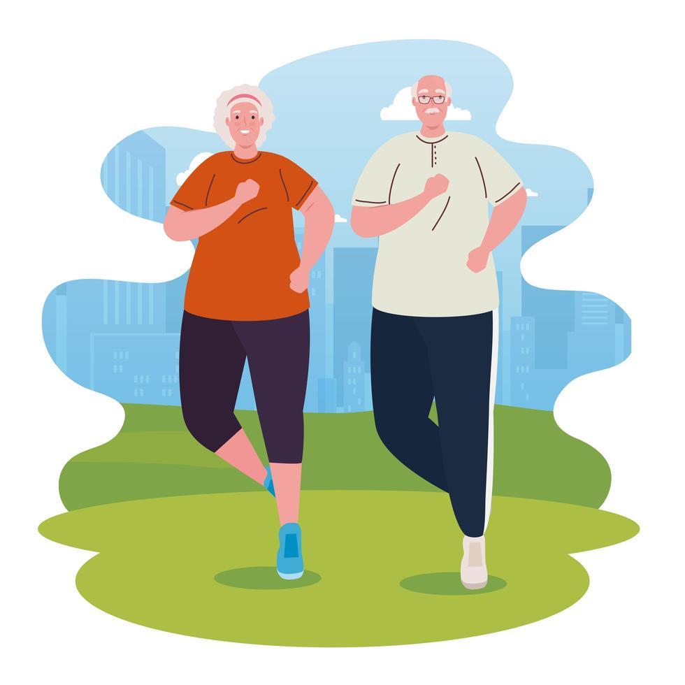 söta gamla par som kör utomhus, sport och motion koncept vektor