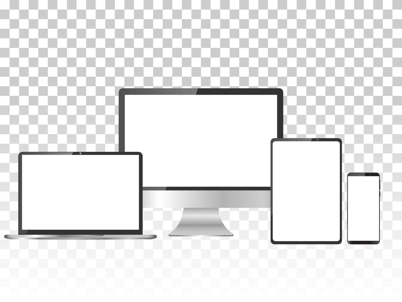 realistisk uppsättning bildskärm, bärbar dator, surfplatta och smartphone vektor