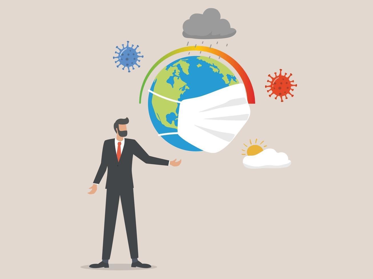 effekterna av coronavirus på konceptet klimatkrisen vektor