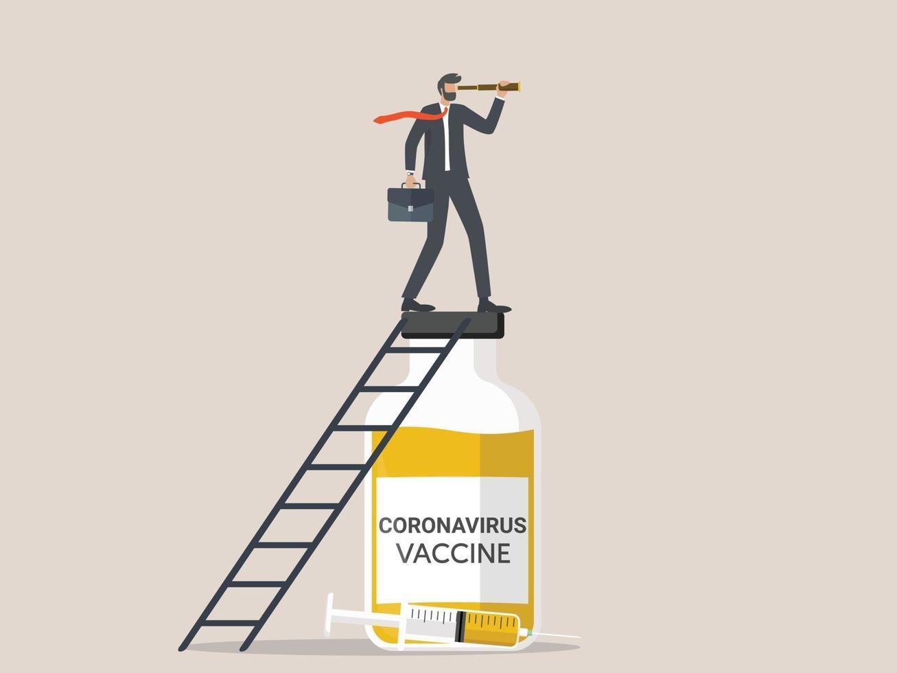den nya normala affärsvisionen efter att coronavirus-covid-19-vaccinet upptäcktes, ledaren för entreprenören som höll ett teleskop över vaccinflaskan. vektor
