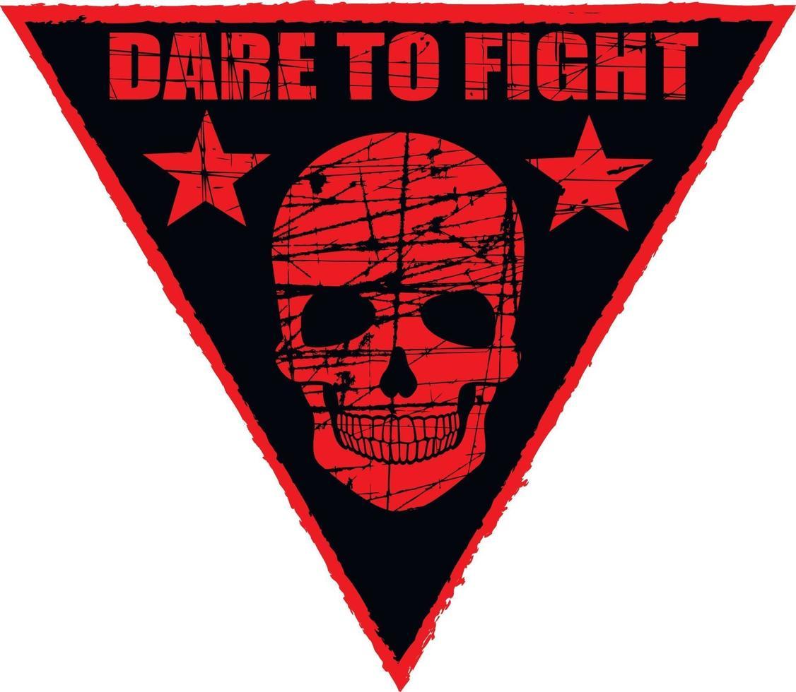 militär skylt med skalle i triangel, grunge vintage design t-skjortor vektor
