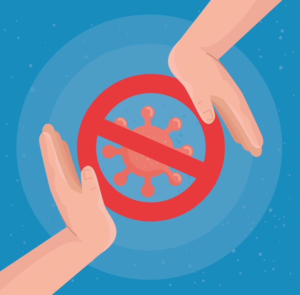 förbjudet coronavirus med händer vektordesign vektor