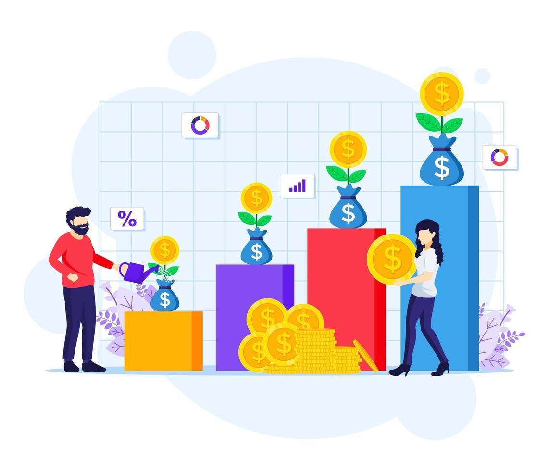 Investitionskonzept, Menschen, die Geldbaum gießen, Münze sammeln, finanzielle Investition Gewinn flache Vektor-Illustration erhöhen vektor