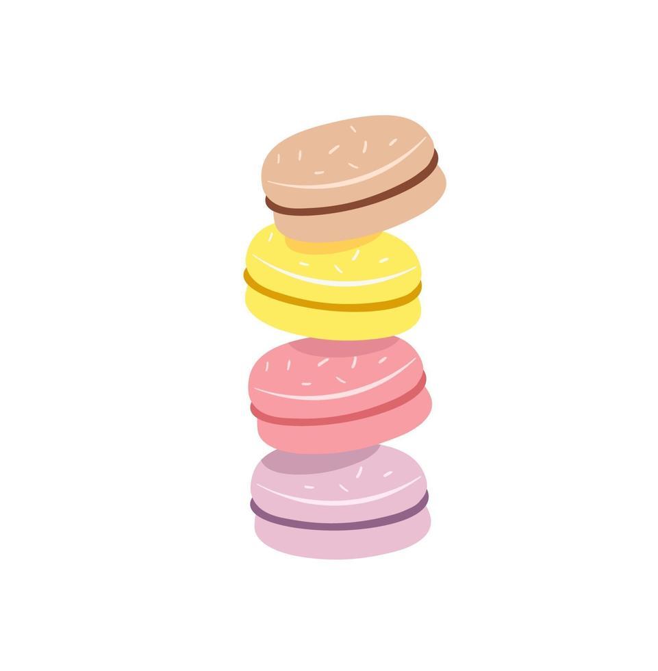 bunt med färgglada macaron, macaroon mandelkakor, skiss stil vektorillustration isolerad på vit bakgrund. stack, hög med färgglada mandelmakaron, makronkex, söt och vacker efterrätt vektor