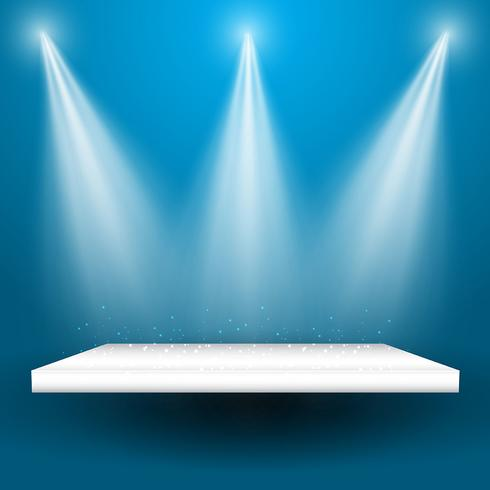 Scheinwerfer, die auf einem Regal glänzen vektor