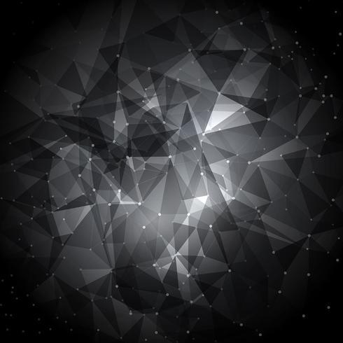 Abstrakter niedriger Polyhintergrund mit Verbindungspunkten vektor