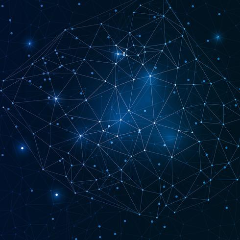 Techno Low Poly Hintergrund mit Verbindungspunkten vektor